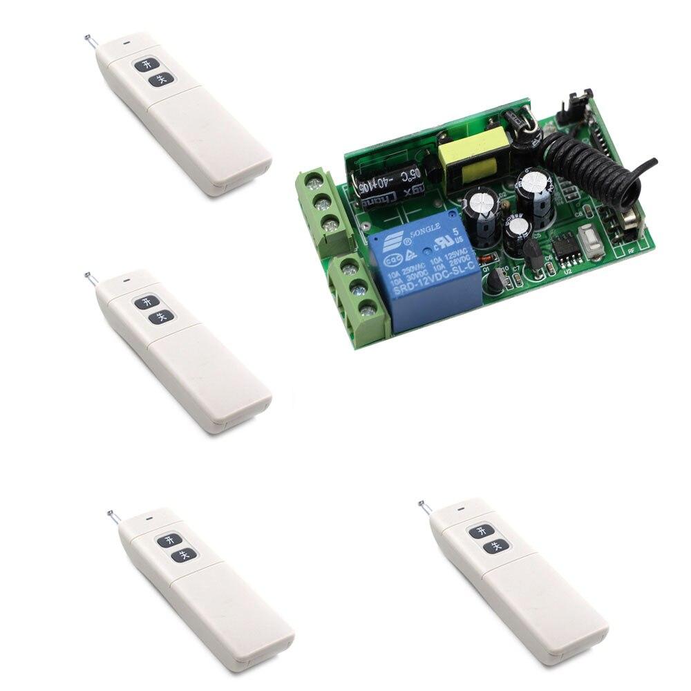 AC 85V-250V Wireless Remote Control Switch Wireless Remote Power Light Switch 1CH 1 CH Receiver + 4 X Transmitter ; 315/433Mhz<br>