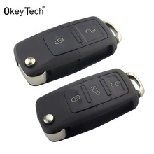 OkeyTech 2 3 buttons Folding Flip Key Shell Car Key Replacement For VW Golf 4 5 Passat b5 b6 polo Touran For Seat for Skoda Key(China)