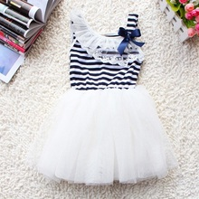 Fashion Toddler Baby Girl Flower Tulle Braces Lace Bowknot Stripes 3 Colors Tutu Dress 2-6Y