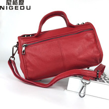 Buy NIGEDU brand ladies genuine leather handbags rivet Boston bag Women Shoulder Crossbody Bags 2017 New Women's Totes bolsa feminin for $29.59 in AliExpress store