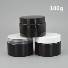 wholesale 100ps/lot 30g 50g 100g Black container Plastic Cream Jar,3.5oz  empty plastic Cream container with lids