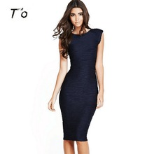 T'O Women Summer Elegant Vintage Retro Deep V Back Sleeveless Solid Color Ruched Party Bodycon Wiggle Tunic Pencil Dress 190(China)
