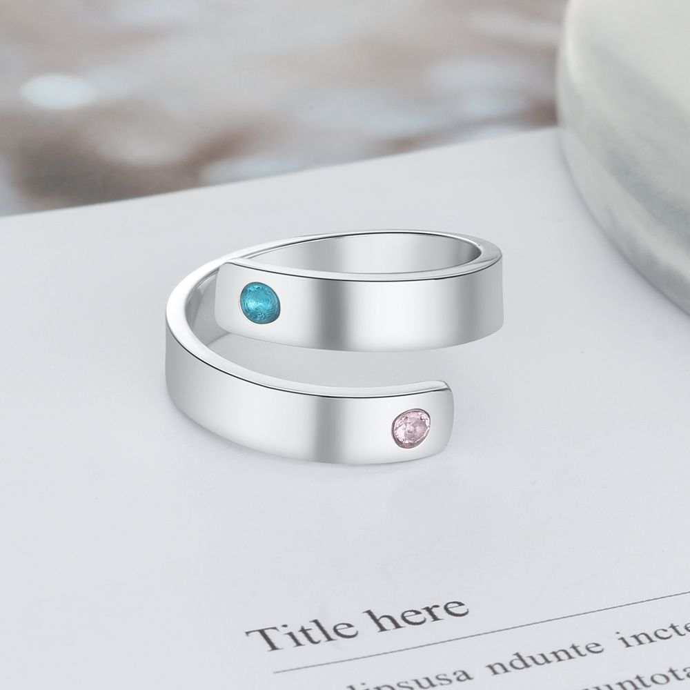 Two Diamonds Personalized Birthstone Ring