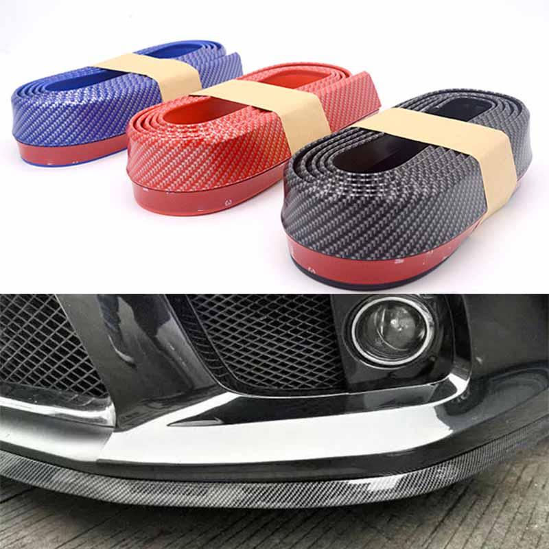 2.5M*6CM Black Soft Carbon Fiber Car Rubber Bumper Strip Outside Bumper Exterior Front Bumper Lip Kit Car bumper Strip Promotion<br>