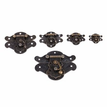 5pcs/set Mini Antique Zinc Alloy Cabinet Buckle Case Locks Hasp Latch Wooden Box Lock Decorative Handle locking Hardware(China)