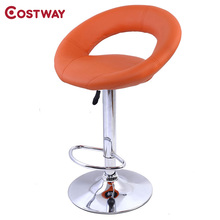COSTWAY PU Leather Modern Adjustable Bar Stool Swivel Chair Bar Chair Commercial Furniture Bar Tool HW50127