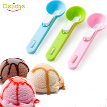 Delidge 1 Pc Candy Color Plastic Ice Cream Spoon Digging Watermelon Pitaya Muskmelon Scoops Spherical Shape Cooking Tools