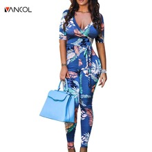 Vancol 2017 Deep V Neck Jumpsuit Romper Sexy Blue Print Long Pants Bodysuit Women Skinny Summer Beach New Body Macacao Feminino