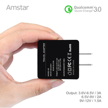Amstar Quick Charge 3.0 USB Charger 18W Fast Wall Charger QC3.0 Mobile Phone Adapter for iPhone 8 Plus Samsung Galaxy S8 Note 8(China)