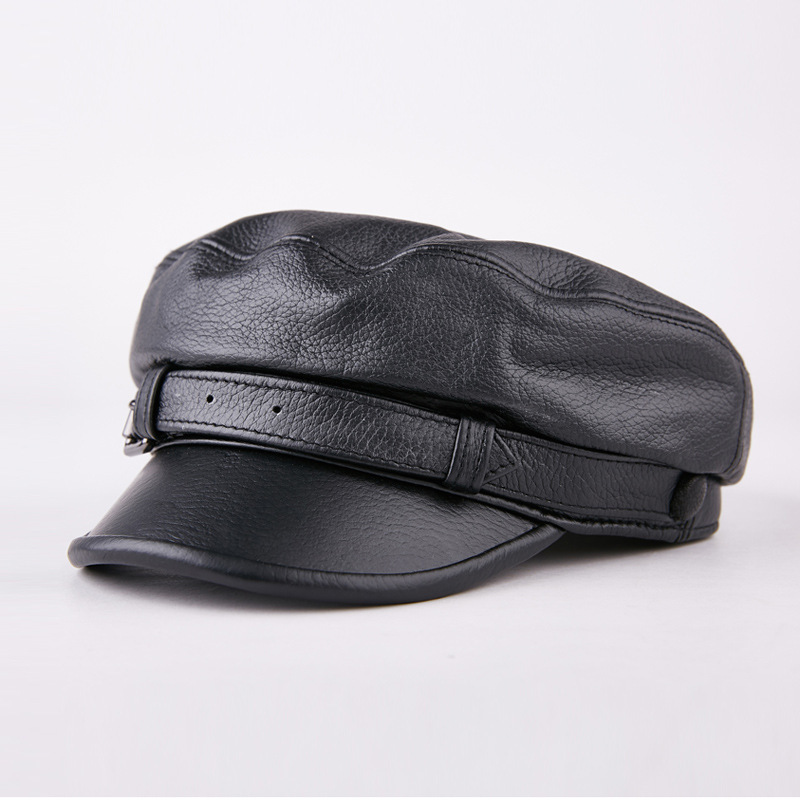 Male ladies casual leather hat suede leather winter cap flatcap youth Hat Cap<br>
