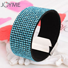 Crystal bracelet for women big wide pulseras mujer rhinestone flannel leather wrap bracelets & bangles cape armbanden wristband