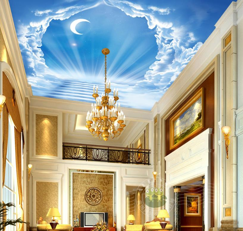 Photo Non-woven Wallpaper 3d Wall Blue sky moon ladder clouds Sky Ceiling Wallpaper <br>