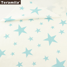 Teramila Fabric 100% Cotton Twill Material Bed Sheet Shining Blue Stars Design DIY For Bedding Tissue Clothing Home Texitle(China)