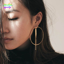Punk Gold/Silver Plated Large Circle Statement Dangle Earrings Bijoux