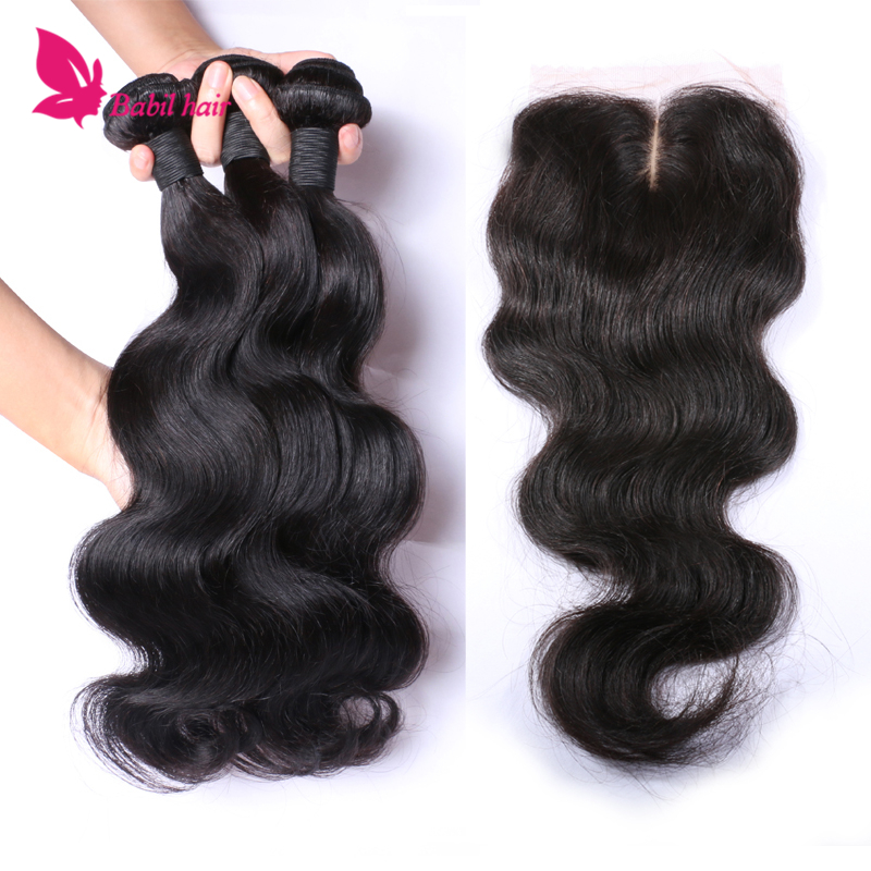 7A Silk Base Closure With Bundles Brazilian Virgin Hair 3 Bundles With Silk Base Closure Body Wave Human Hair Weft With Closure<br><br>Aliexpress