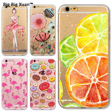 For Iphone 5 5S SE 6 6s Plus Ultra Thin Pretty Girl Fruit Crystal TPU Customize Case Back Skin Fundas Silicone Gel Case