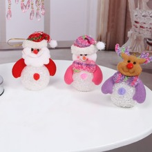 2017 New Snowman Santa Claus Ornament Christmas Tree Decor LED Light Xmas Party Decor(China)