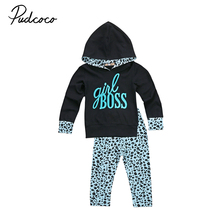 1-6Y  childrens set Autumn long sleeves Hoodie T Shirt top + pants blue Leopard baby girls outfits kid baby girl clothing