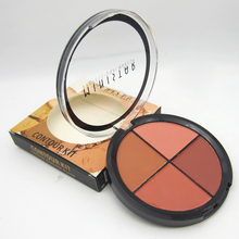 Professional Dark Skin Brand Blusher Make Up Waterproof 4 Color Mineral Powder Face Contour Bronzer Makeup Blush Palette(China)