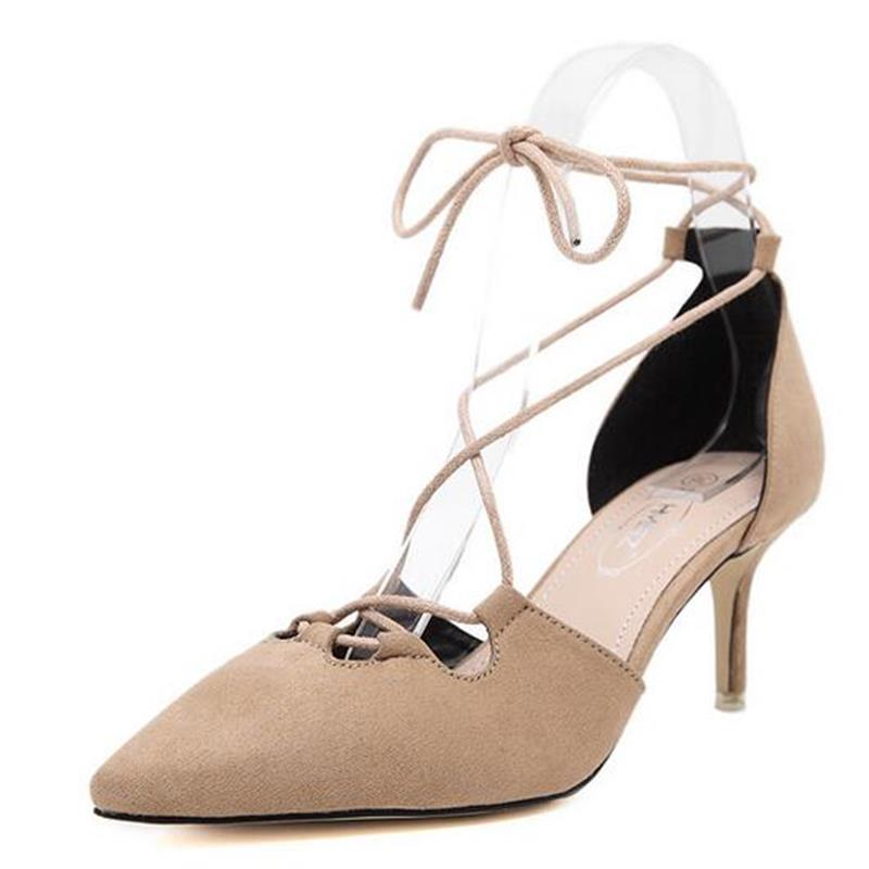 2017 New Sexy Fashion Roman Style Flock Suede Valentine Knot Cross Lacing Ankle Strap Stiletto Sandals High Heels Shoes Woman<br><br>Aliexpress