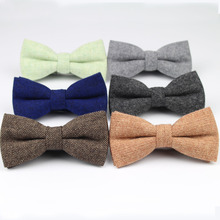 Mens Formal Wear Thick Business Bowtie Butterfly Men Dick Solid Color Wool Cravat Unisex England Style Bow Tie(China)