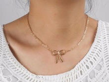 bow-knot Finish Whale Tail Pendant Necklace gold filled chain/trendy necklace/ gift