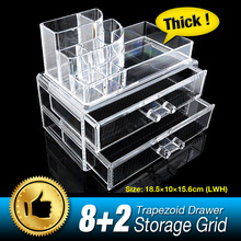 10 Grid 3 Layer Drawer jewelry Box Make up Organizer Storage Holder Skin Care Cabinet Clear Acrylic Large Display Box EQC368