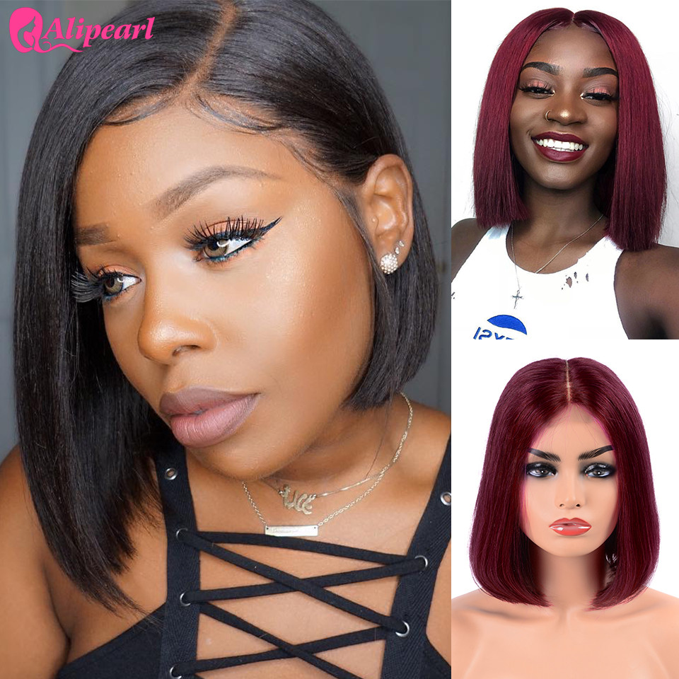 Short Lace Front Human Hair Wigs Brazilian Straight Bob Wigs Pre Plucked Hairline Natural Wigs For Black Women AliPearl Hair Wig(China)