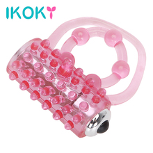 Buy IKOKY Delay Ejaculation Passion Enhance Vibrating Penis Rings Silicone Clitoris Stimulate Cock Ring Sex Toys Men Vibrators