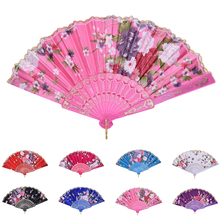 New Chinese Vintage Fancy Folding Fan Hand Plastic Lace Silk Flower Dance Fans Party Supplies For Women Gift 8 Colors 1PCS