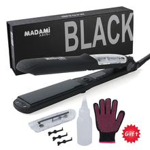 MADAMI 450F Ceramic Vapor Steam Hair Straightener Argan Oil Steam Flat Iron Professional Steam Hair Straightener Iron Free Glove(China)