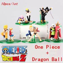 10Pcs/set 2017 One Piece Nami Roshi Luffy With Dragon Ball Goku Anime Action Figures Dolls Collection Model Toys Kids Gifts #NB