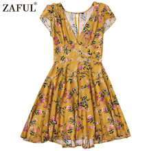 zaful Cut Out Yellow Floral Dress Summer V Neck Short Sleeves Women Dress 2017 Casual A-Line Mini Dress Boho Beach Vestidos
