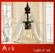 ark light Rustic Glass bell Pendant lamp Antique American style light brief reminisced classical dining room coffee house(China)