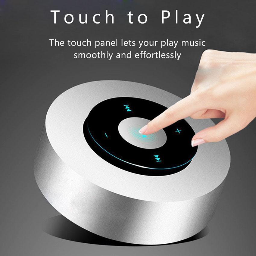 Aimitek Portable Bluetooth Speaker Touch Screen Mini Wireless Stereo Speaker silver-4