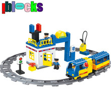 IBLOCKS Railway Train Police Station Electric Blocks Compatible With DUPLO Auto Battery Operated Rail Building Toys For Kid