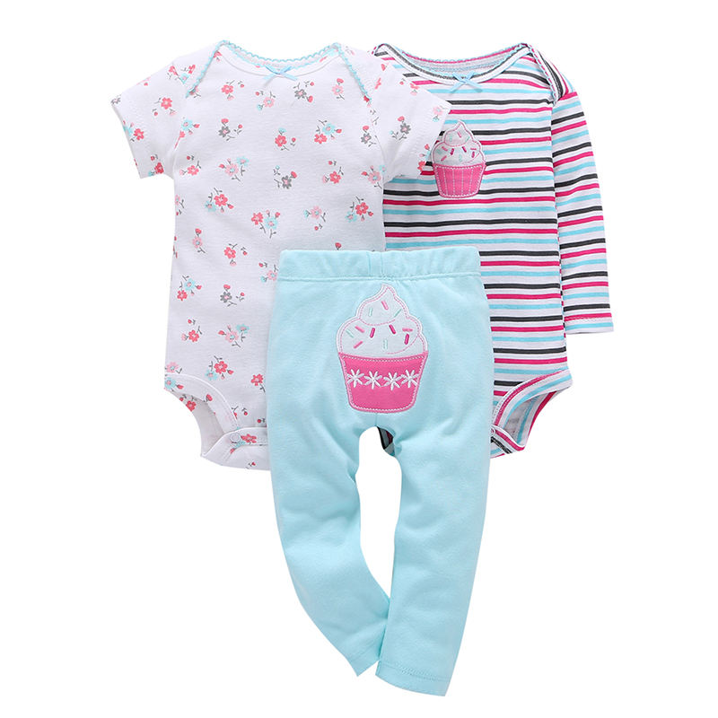6-24M newborn baby clothes set cotton long sleeve stripe romper with cake embroider+pants 3PCS infant baby girl boys outfits