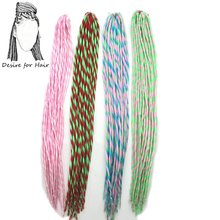 1pack 22inch 80g 20strands per pack heat resistant synthetic dreadlocks hair extensions pink white green red mixed color