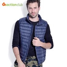 ACTIONCLUB Mens White Duck Down Vest Winter Ultra-light Warm Down Vest S-3XL Male Waistcoat Sleeveless Outwear chaleco hombre(China)