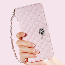 For Galaxy S8 / S8 Plus Case Rhombus Design Leather Wallet Phone Cover with Wrist Strap for  Samsung Galaxy S8 Plus G955 - pink