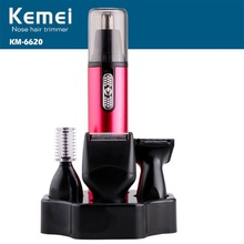 Kemei 4 In 1 Electric Shaving Nose And Ear Hair Trimmer KM-6620 Battery Operated Beard Care Removal Ear Nose Hair Shaver Clipper