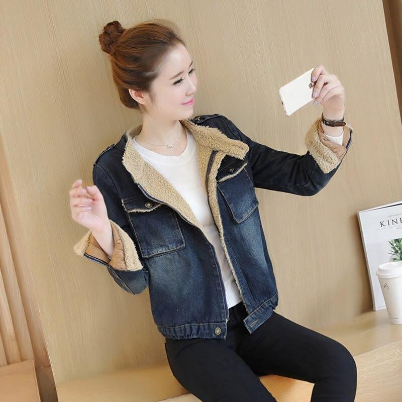 Winter women Korean student slim stand collar plus velvet thick lambs wool denim jacket cotton female warm short jacket MZ1170Îäåæäà è àêñåññóàðû<br><br>
