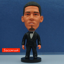 Soccerwe 6.5 cm Height Football Star Doll Resin Smalling in Bow Tie Suit Black