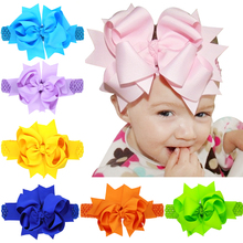 Big Bow Headband Elastic baby Hair Bands infant Christmas supplies Hair ornament crochet headband Hair clips set(China)