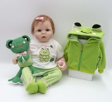 "22""56cm New charm baby adora Lifelike toddler Baby Bonecas with green three pieces set and frog toy silicone reborn baby dolls(China)"