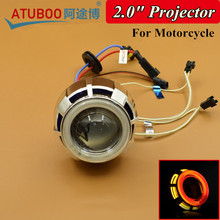 "Buy 2.0"" Motorcycle Projector Lens Kit Double Angel Eyes Halo Ring Using H1 Xenon Bulb 35W Ballast for $30.80 in AliExpress store"