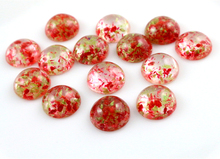New Fashion 20pcs 12mm Mixed Natural Dried Flowers Flat Back Resin Cabochons Cameo  G6-19