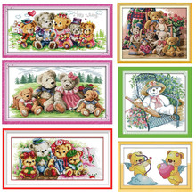 Happy Bear Family The Lovely bear DMC Frabric DIY Handwork Embroidery Sets Chinese Cross Stitch Kits Cross-stitch set Needlework(China)