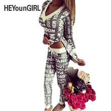 HEYounGIRL 2017 Winter Women 2 Pieces Set Women Tracksuit Print Letter Loose Suit Pullovers Sweatshirt Long Pants Short T Shirt
