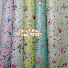 5PCS 21x29cm Faux Leather Fabric Printed Flowers Pearlized Leather Pu leather Fabric For Bow DIY Wallpaper GM077b(China)